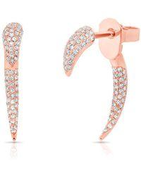 Anne Sisteron - 14kt Rose Gold Diamond Mini Sabre Earrings - Lyst