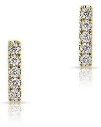 Anne Sisteron - 14kt Yellow Gold Diamond Mini Bar Stud Earrings - Lyst