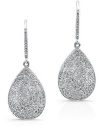 Anne Sisteron - 14kt White Gold Diamond Medium Pear Shaped Earrings - Lyst