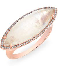 Anne Sisteron - 14kt Rose Gold Diamond Moonstone Marquis Ring - Lyst