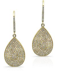 Anne Sisteron - 14kt Yellow Gold Diamond Medium Pear Shaped Earrings - Lyst