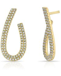 Anne Sisteron - 14kt Yellow Gold Diamond Curve Earrings - Lyst