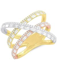 Anne Sisteron - 14kt Yellow And Rose And White Gold Diamond Wire Ring - Lyst