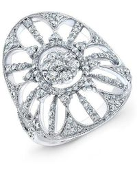 Anne Sisteron | 18kt White Gold Diamond Shield Ring | Lyst