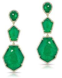 Anne Sisteron - 14kt Yellow Gold Emerald Diamond Triple Drop Earring - Lyst