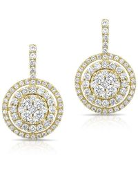 Anne Sisteron | 14kt Yellow Gold Pave Diamond Double Halo Wireback Earrings | Lyst