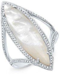 Anne Sisteron - 14kt White Gold Mother Of Pearl Diamond Celeste Ring - Lyst