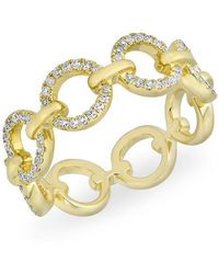 Anne Sisteron - 14kt Yellow Gold Diamond Open Circle Link Drea Ring - Lyst