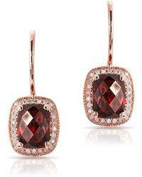 Anne Sisteron - 14kt Rose Gold Garnet Diamond Rectangle Earrings - Lyst