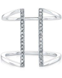 Anne Sisteron - 14kt White Gold Diamond Straight Double Bar Ring - Lyst