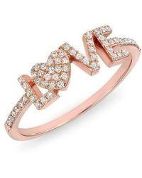 Anne Sisteron   14kt Rose Gold Diamond Love Heart Ring   Lyst