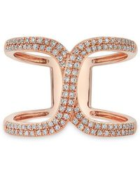 Anne Sisteron - 14kt Rose Gold Diamond Double Horseshoe Ring - Lyst