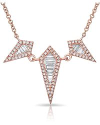 Anne Sisteron - 14kt Rose Gold Baguette Diamond Triple Spear Necklace - Lyst