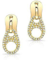 Anne Sisteron - 14kt Yellow Gold Diamond Zipper Earrings - Lyst