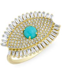 Anne Sisteron - 14kt Yellow Gold Baguette Diamond Turquoise Evil Eye Gypsy Ring - Lyst