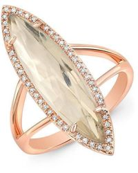 Anne Sisteron - 14kt Rose Gold Diamond Topaz Small Serena Ring - Lyst