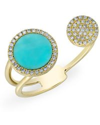 Anne Sisteron - 14kt Yellow Gold Diamond Turquoise Disc Nikki Ring - Lyst