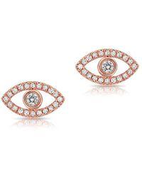 Anne Sisteron - 14kt Rose Gold Mini Evil Eye Diamond Stud Earrings - Lyst