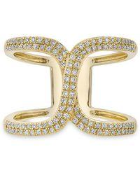 Anne Sisteron - 14kt Yellow Gold Diamond Double Horseshoe Ring - Lyst