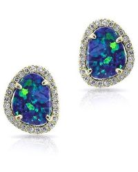 Anne Sisteron - 14kt Yellow Gold Mini Organic Opal Diamond Stud Earrings - Lyst