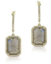 Anne Sisteron | 14kt Yellow Gold Rectangle Labradorite Diamond Chic Earrings | Lyst