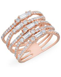 Anne Sisteron - 14kt Rose Gold Diamond Baguette Stacked Ring - Lyst