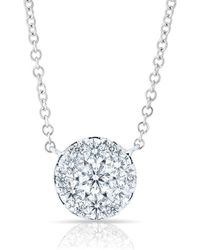 Anne Sisteron - 14kt White Gold Diamond Round Pendant Laurie Necklace - Lyst