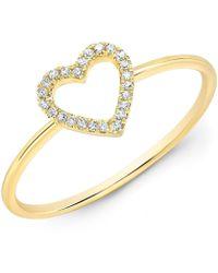 Anne Sisteron - 14kt Yellow Gold Diamond Open Heart Ring - Lyst