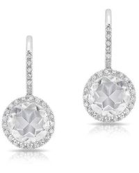 Anne Sisteron - 14kt White Gold Diamond White Topaz Round Wireback Earrings - Lyst