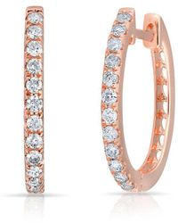 Anne Sisteron - 14kt Rose Gold Diamond Marie Hoops - Lyst