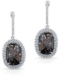 Anne Sisteron - 14kt White Gold Diamond Slice Double Halo Earrings - Lyst