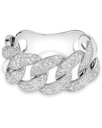 Anne Sisteron | 14kt White Gold Luxe Light Diamond Chain Link Ring | Lyst