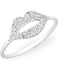 Anne Sisteron - 14kt White Gold Diamond Lip Kiss Ring - Lyst