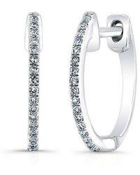 Anne Sisteron - 14kt White Gold Diamond Huggie Earrings - Lyst