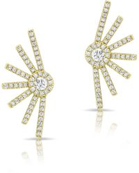 Anne Sisteron - 14kt Yellow Gold Diamond Deco Stud Earrings - Lyst