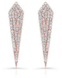 Anne Sisteron - 14kt Rose Gold Diamond Mini Spear Earrings - Lyst