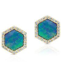 Anne Sisteron - 14kt Yellow Gold Opal Diamond Hexagon Stud Earrings - Lyst