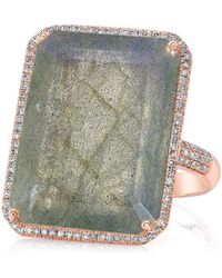 Anne Sisteron - 14kt Rose Gold Labradorite Diamond Rectangle Cocktail Ring - Lyst