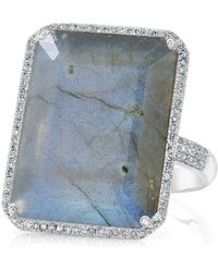 Anne Sisteron - 14kt White Gold Labradorite Diamond Rectangle Cocktail Ring - Lyst