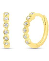 Anne Sisteron - 14kt Yellow Gold Diamond Hazel Bezel Huggie Earrings - Lyst