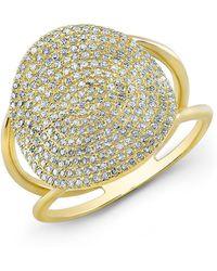 Anne Sisteron - 14kt Yellow Gold Diamond Disc Ring - Lyst
