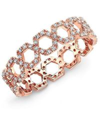 Anne Sisteron - 14kt Rose Gold Diamond Mini Lattice Ring - Lyst