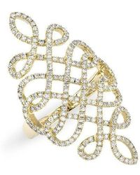 Anne Sisteron - 14kt Yellow Gold Diamond Woven Lace Ring - Lyst