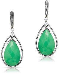 Anne Sisteron - 14kt Oxidized White Gold Chrysoprase Diamond Drop Earrings - Lyst