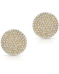 Anne Sisteron - 14kt Yellow Gold Diamond Luxe Disc Stud Earrings - Lyst