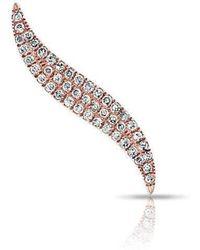 Anne Sisteron - 14kt Rose Gold Diamond Swerve Ear Climber - Lyst