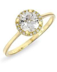 Anne Sisteron - 14kt Yellow Gold White Topaz Solitaire Diamond Halo Ring - Lyst