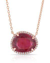 Anne Sisteron - 14kt Rose Gold Ruby Diamond Jasmine Necklace - Lyst