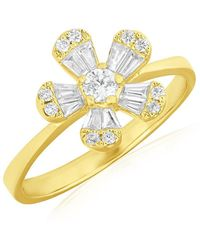 Anne Sisteron - 14kt Yellow Gold Baguette Diamond Daisy Ring - Lyst