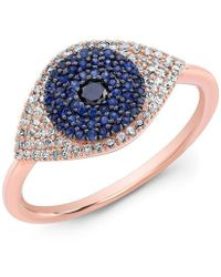 Anne Sisteron - 14kt Rose Gold Diamond And Blue Sapphire Evil Eye Ring - Lyst